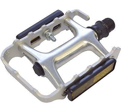 "Wellgo 9/16"" Silver Alloy Cycle Bicycle Mountain Bike Pedals MTB"