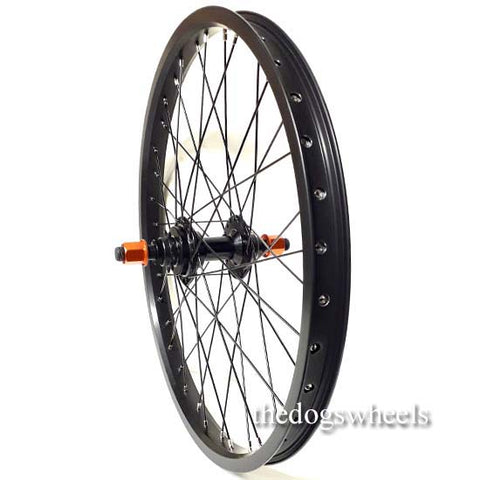"BMX Bike Bicycle Rear Wheel 20"" x 1.5"" Sealed Bearings 9T Driver Double Wall 14mm axle Orange Nuts"
