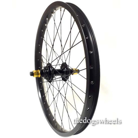 "BMX Bike Bicycle Rear Wheel 20"" x 1.5"" Sealed Bearings 9T Driver Double Wall 14mm axle Gold Nuts"