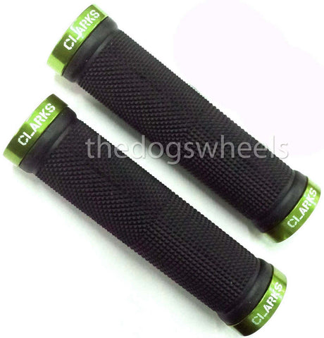 Clarks Lock On MTB Bike Bicycle Handlebar Grips Lock-on Knurled Black Green