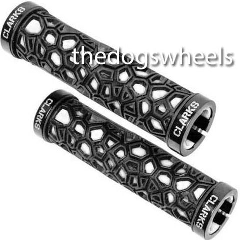 Clarks Lock On MTB Bike Bicycle Handlebar Grips Lock-on Black White