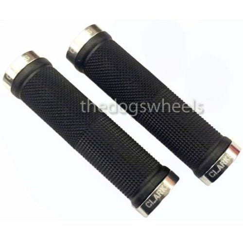 Clarks Lock On MTB Bike Bicycle Handlebar Grips Lock-on Knurled Black / Silver