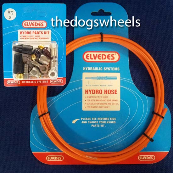 Elvedes Hydraulic Brake Hose Kit Front & Rear Shimano / Avid / Tektro / Hayes / Formula / Magura Fluo Orange Kit 2