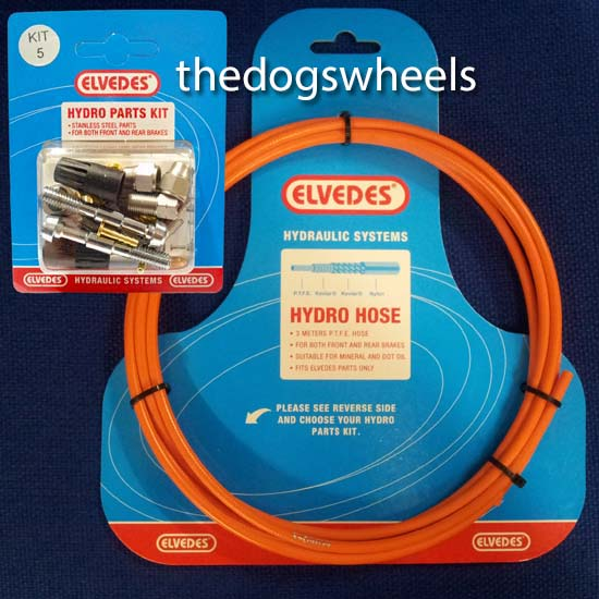 Elvedes Hydraulic Brake Hose Kit Front & Rear Shimano Fluo Orange Kit 5