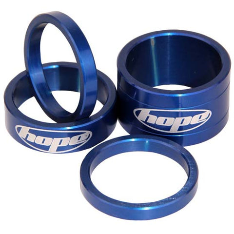 "Hope 1.1/8"" Alloy Headset Spacers Blue Mountain Bike MTB Bicycle"