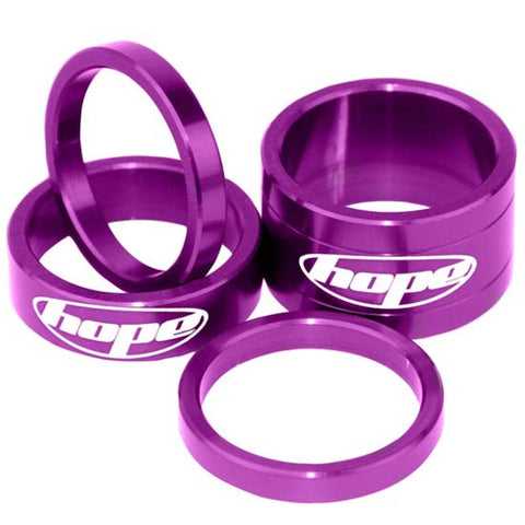 "Hope 1.1/8"" Alloy Headset Spacers Purple Mountain Bike MTB Bicycle"