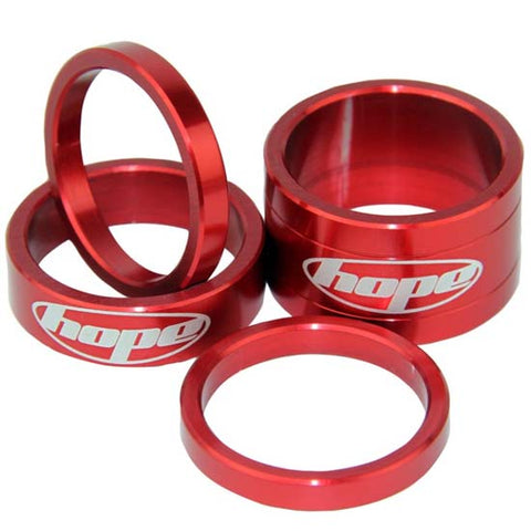 "Hope 1.1/8"" Alloy Headset Spacers Red Mountain Bike MTB Bicycle"