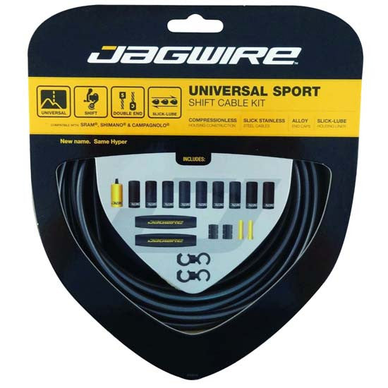 Jagwire Universal Sport MTB / Road Bike Bicycle Gear Cable Kit Black incl Campag