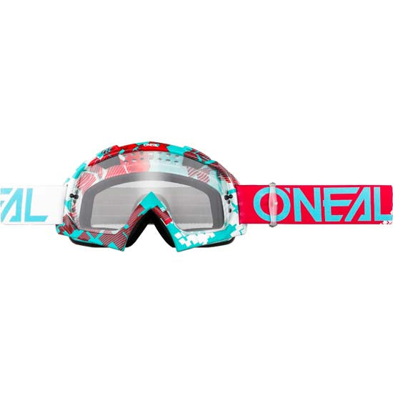O'Neal B-10 Goggles Pixel Red Teal Clear Lens Mountain Bike MTB MX Motox