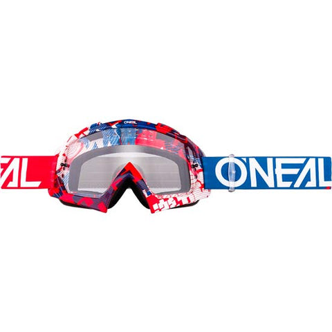 O'Neal B-10 Goggles Pixel Red Blue Clear Lens Mountain Bike MTB MX Motox