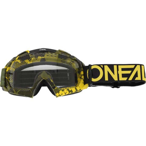 O'Neal B-10 Goggles Pixel Neon Green Clear Lens Mountain Bike MTB MX Motox