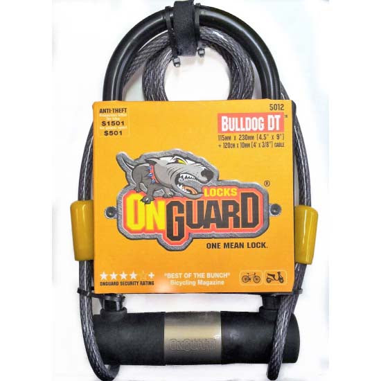 OnGuard Bulldog D U Shackle Lock 230mm x 13mm & Cable Mountain Bike MTB Bicycle