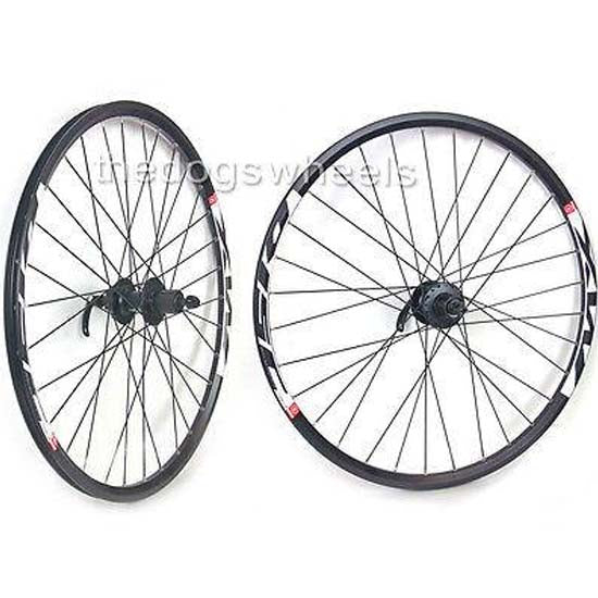 "26"" Mountain Bike MTB XC Wheels Wheelset MX Disc Shimano Deore Hubs QR 8/9 Speed Black"