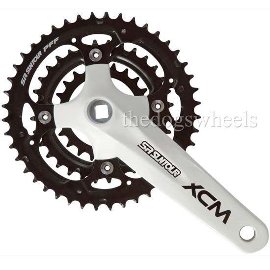 Suntour XCM Triple Chainset Crankset MTB Bicycle Mountain Bike White 22/32/44T 9s 27s 9 speed