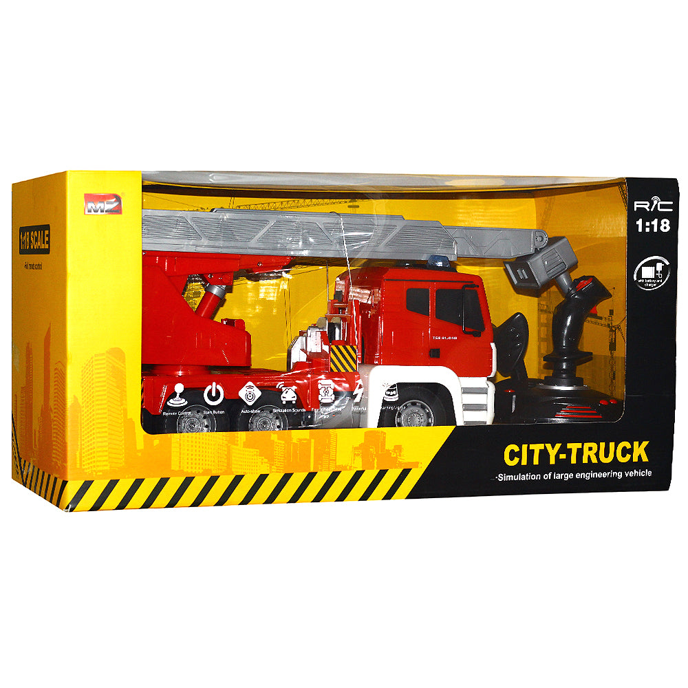 1/18 Scale City Truck Simulation Of Large Fire Extinguishing Vehicle R/C