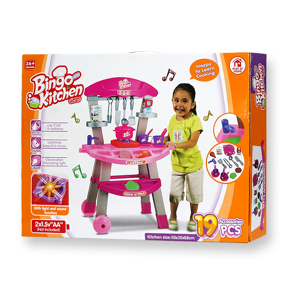 Kitchen set moving style with sound and light 19 pieces