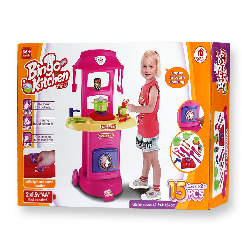 Kitchen set series with sound and light 15 pieces