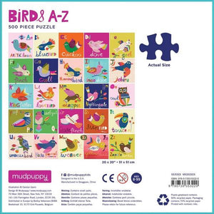 Mudpuppy Puzzles Birds A-Z | 500 Pieces | The Gifted Type