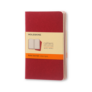 Moleskine Pocket Cahier Set Of 3 | Cranberry Red | The Gifted Type