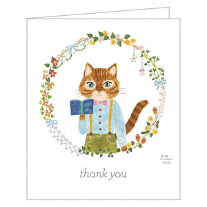 Boxed Notecards GreenThanks Cat Kawaii Set Of 16 | The Gifted Type