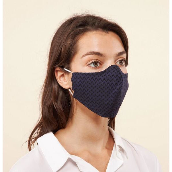 Margaret M Face Mask - Navy Ditsy Geo