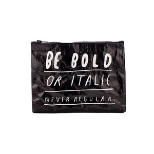Blue Q Zipper Pouch Bold Italic | The Gifted Type
