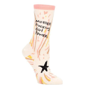 Blue Q Women's Crew Sock Motherfucking Girl Power | The Gifted Type