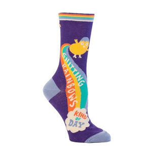 Blue Q Women's Crew Sock Shitting Rainbows Kind Of Day | The Gifted Type