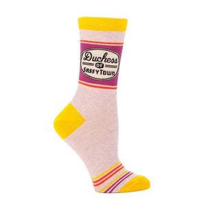 Blue Q Women's Crew Sock Duchess Of Sassytown | The Gifted Type