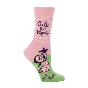 Blue Q Women's Crew Sock Cute But Psycho | The Gifted Type