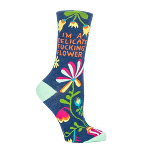 Blue Q Women's Crew Sock Delicate Fucking Flower | The Gifted Type