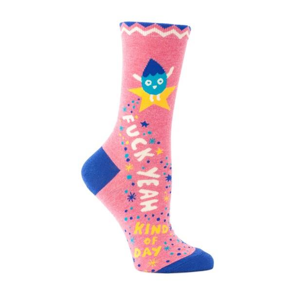 Blue Q Women's Crew Socks Fuck Yeah Kind Of Day | The Gifted Type