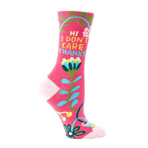 Blue Q Women's Crew Sock - Hi I Don't Care Thanks