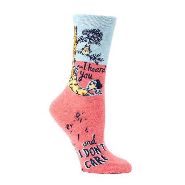 Blue Q Women's Crew Sock I Heard You And I Don't Care | The Gifted Type