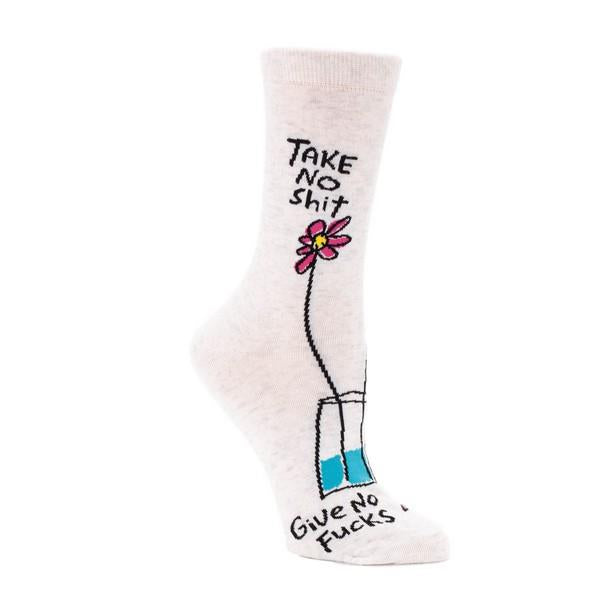 Blue Q Women's Crew Sock Take No Shit Give No Fucks | The Gifted Type