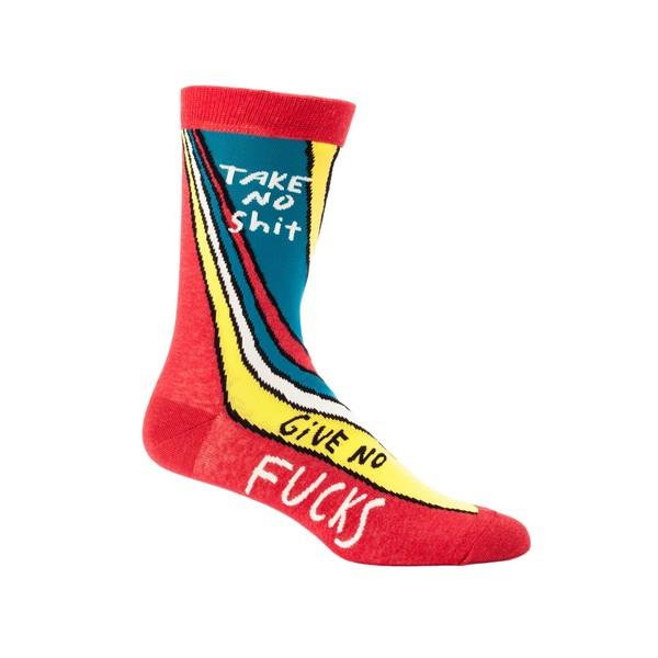 Blue Q Men's Crew Sock Take No Shit Give No Fucks | The Gifted Type