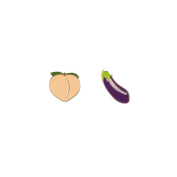 Drake General Store Enamel Pin Set Peach + Eggplant | The Gifted Type