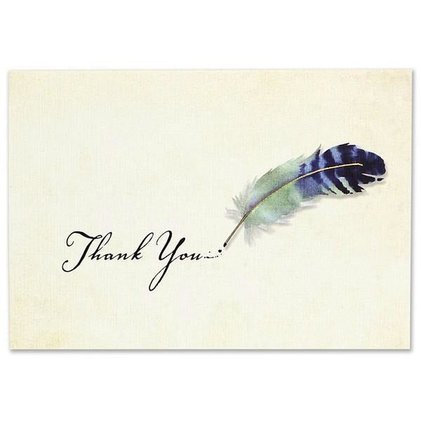 Watercolour Quill Thank You Notecards