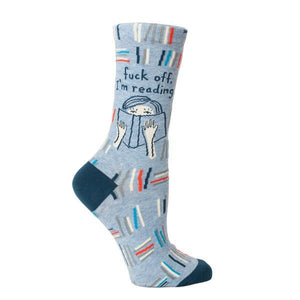 Blue Q Women's Crew Sock Fuck Off I'm Reading | The Gifted Type