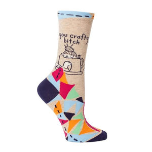 Blue Q Women's Crew Sock You Crafty Bitch | The Gifted Type