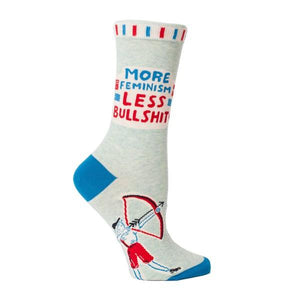 Blue Q Women's Crew Sock More Feminism Less Bullshit | The Gifted Type