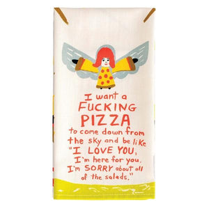 Blue Q Dish Towel I Want A Fucking Pizza To Come Down | The Gifted Type