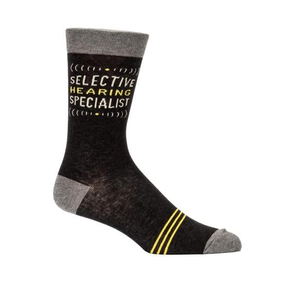 Blue Q Men's Crew Sock Selective Hearing Specialist | The Gifted Type