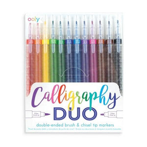 Calligraphy Duo Brush and Chisel TIp Markers - Set of 12