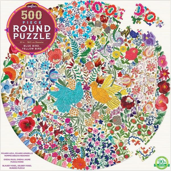 Eeboo Puzzle Blue Bird, Yellow Bird | 500 Pieces | The Gifted Type