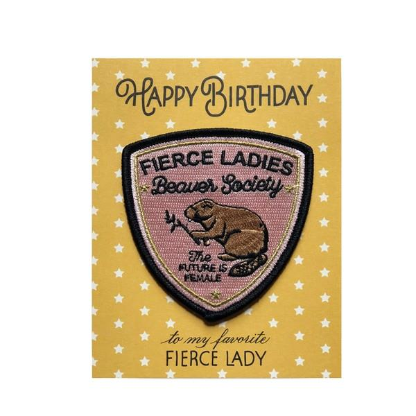 Fierce Ladies Birthday Card With Patch
