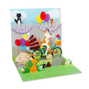 Cat and Cake Bike Ride Pop-Up Card | Up With Paper | The Gifted Type