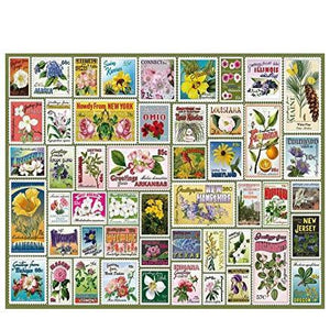 State Flower Stamps - 1000 Piece | White Mountain Puzzles | The Gifted Type