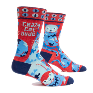 Crazy Cat Dude Men's Crew Socks | The Gifted Type