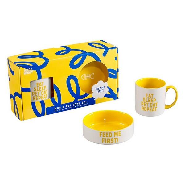 Wild & Woofy Mug + Pet Bowl Set - Cat